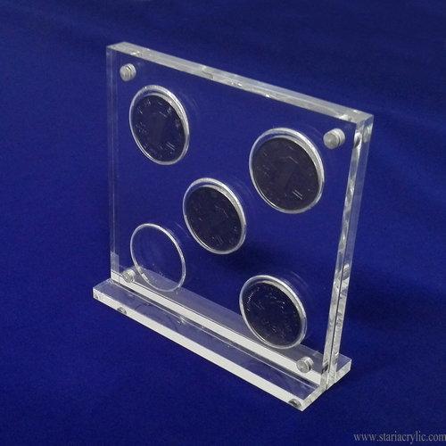 5 Hole Acrylic Coin Display Stand Holder Frame-Stari Acrylic